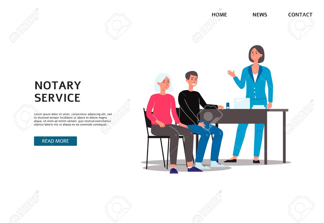 Notary services agency banner template with people cartoon characters setting legal formalities with lawyer, flat vector illustration isolated on white background. - 154144810