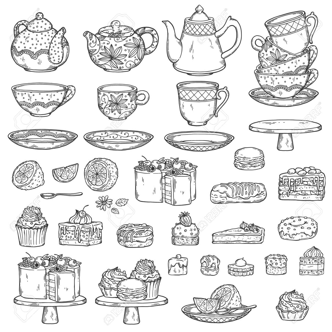 Set of vintage teapots, tea cups and cakes ink drawing outline sketch vector illustration isolated on white background. Line art collection for teatime and teahouse. - 157035235