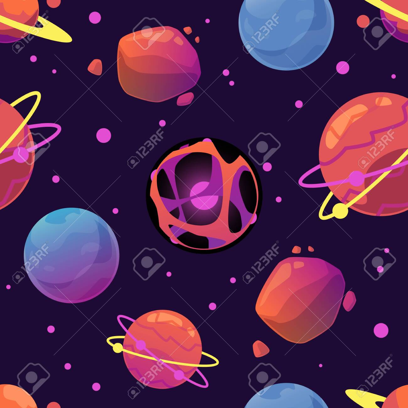 Seamless bright colorful pattern with space planets, flat vector illustration on dark background. Endless repeatable texture with celestial and cosmic elements. - 157495055