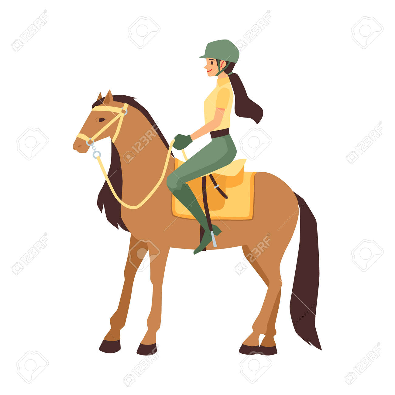 Woman jockey sitting on horseback, flat vector illustration isolated on white background. Female cartoon character of participant of equestrian competition. - 157474725