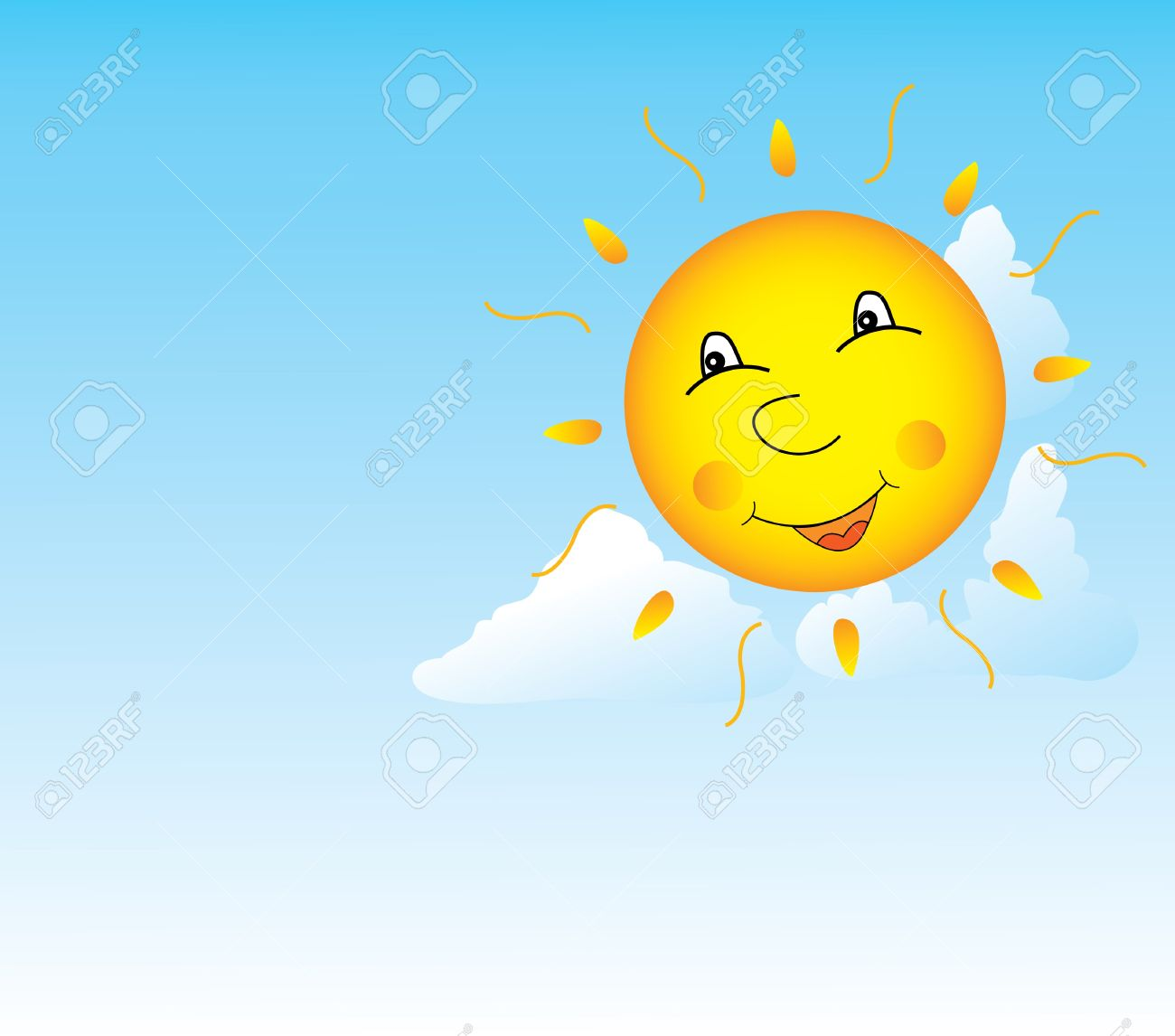 Image of the smiling sun in clouds Stock Vector - 7085179