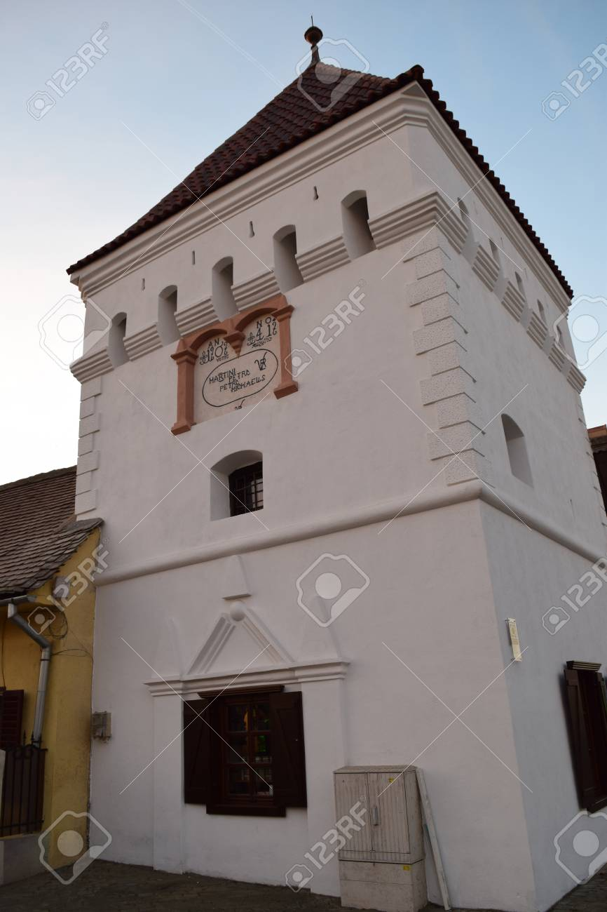 Renovated Fortress Tower at sunset in Medias, Romania. Stock Photo - 51245172
