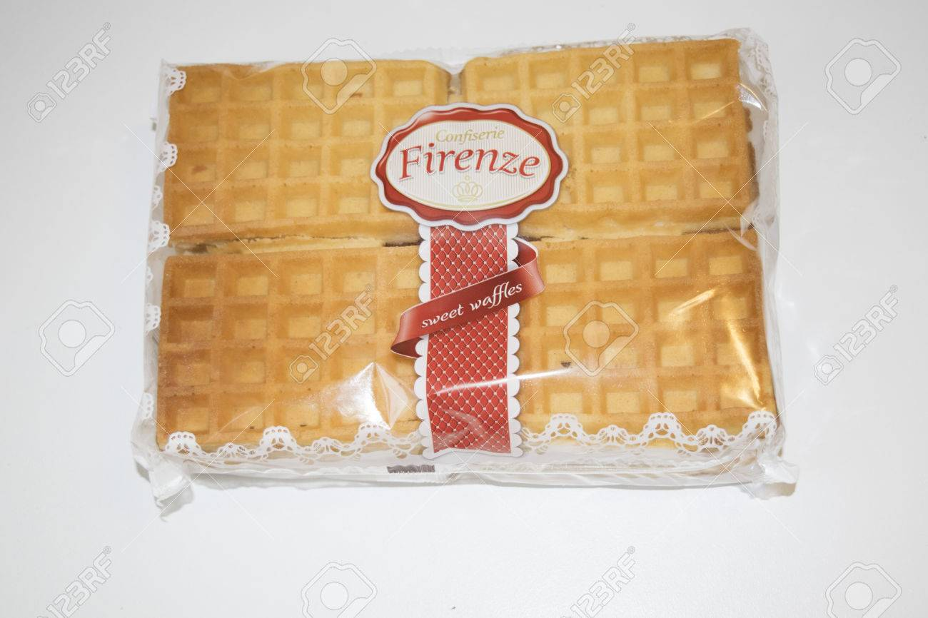 ROMANIA, MEDIAS - Sweet waffles from Confiserie Firenze wrapped in original package, on 15 January 2016 in Medias, Romania. Stock Photo - 51286466