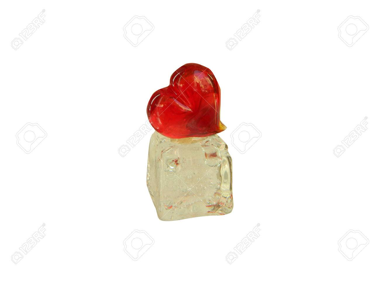Valentines day heart made of Murano glass, on white, ice like support,  isolated on white background. Stock Photo - 51795995