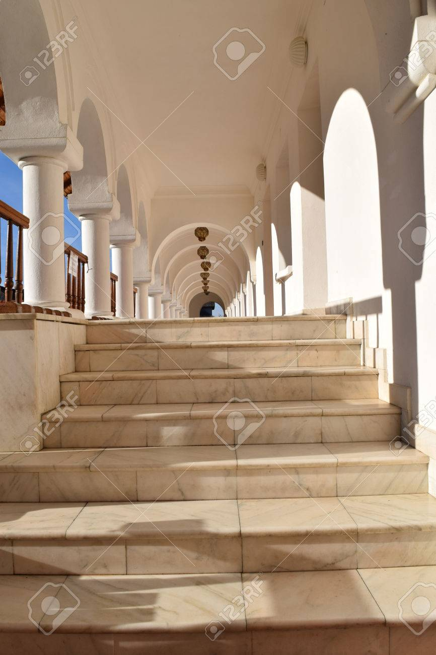 Beautiful monastery corridor at Sambata de Sus monastery, Romania. Stock Photo - 52515841