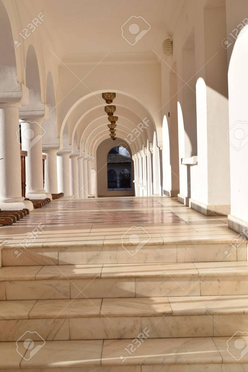 Beautiful monastery corridor at Sambata de Sus monastery, Romania. Stock Photo - 52515842