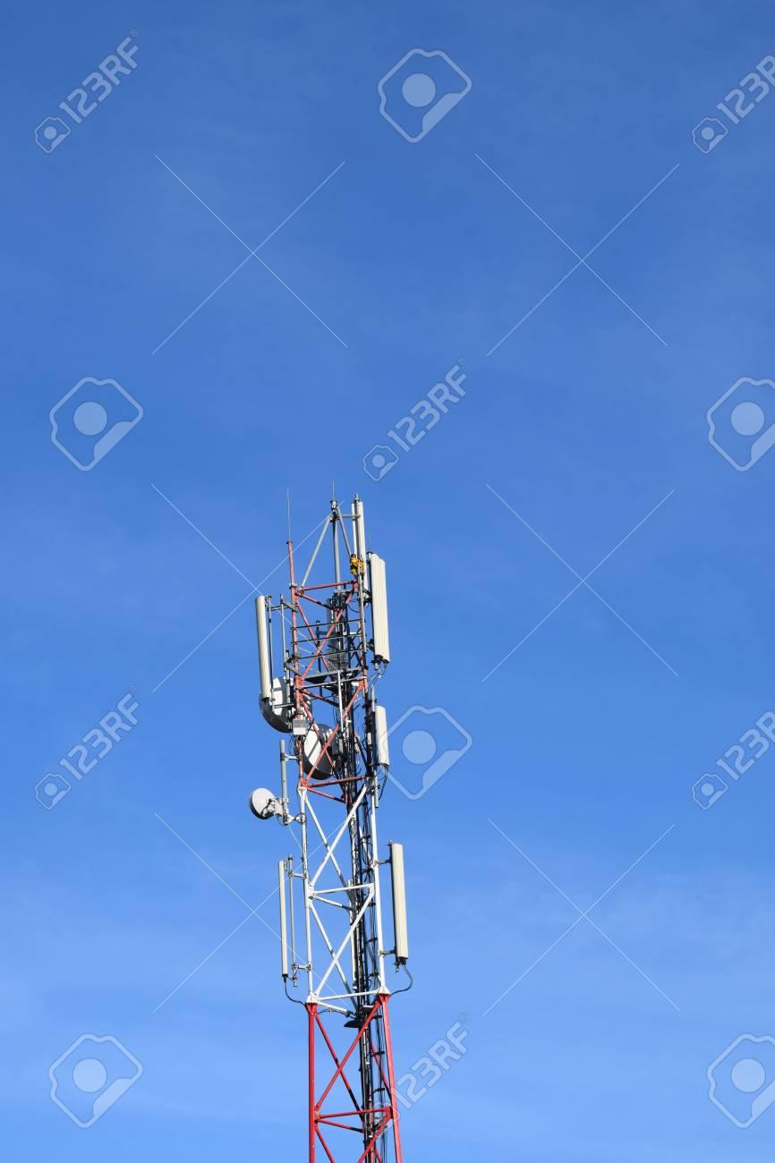 Telecommunication antenna and sky background Stock Photo - 52519318
