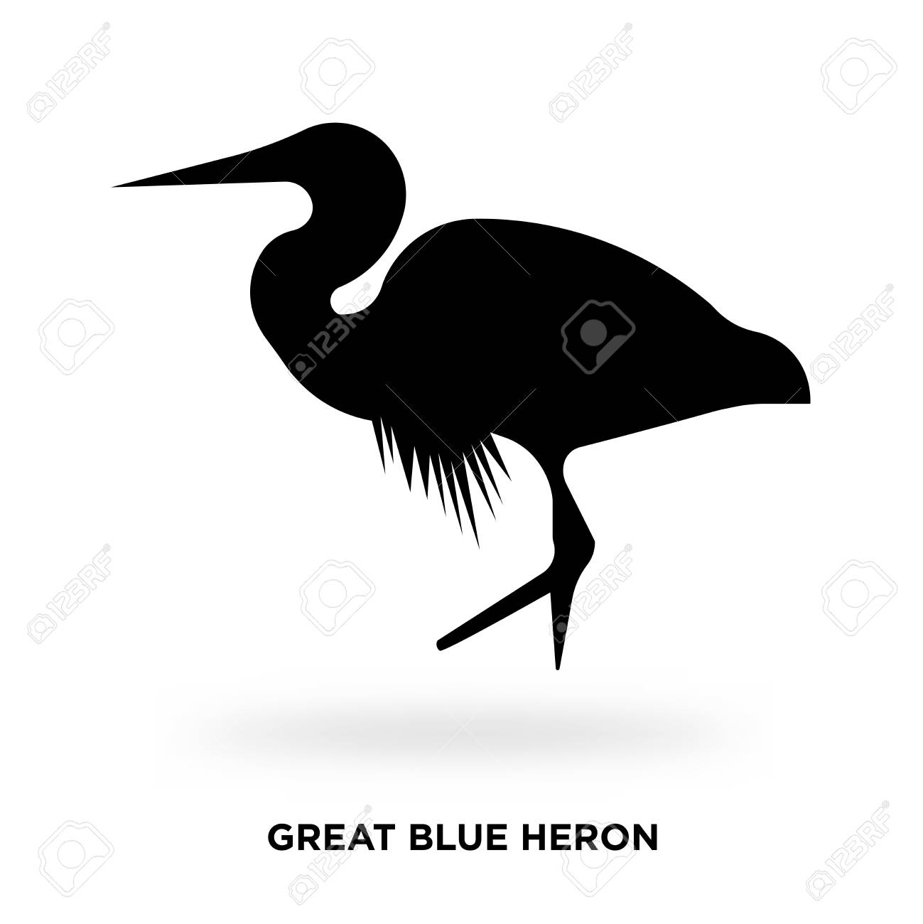 great blue heron silhouette vector illustration royalty free