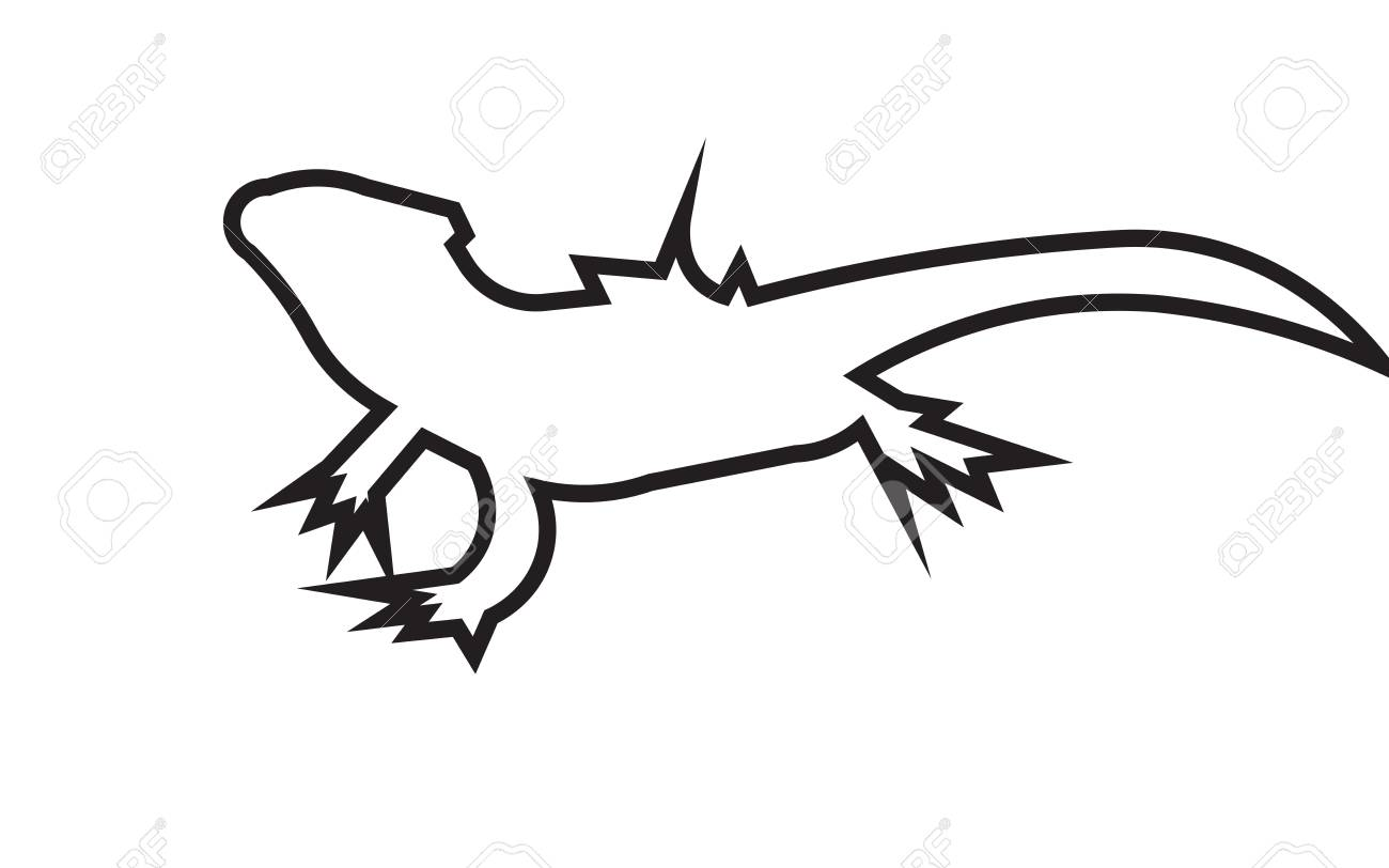 Bearded Dragon Silhouette Outline On White Background Royalty Free