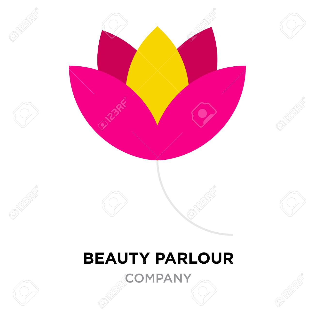Beauty Parlour Logo For Company Red And Yellow Flower Vector Royalty Free Cliparts Vectors And Stock Illustration Image 96577614