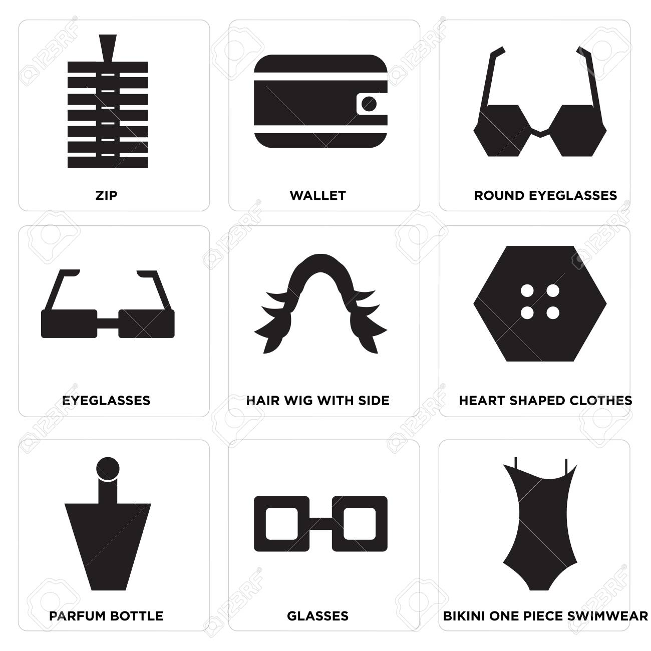 7fb1315581 Set Of 9 simple editable icons such as Bikini one piece swimwear, Glasses,  Parfum bottle, Heart shaped clothes, Hair wig with side, Eyeglasses, ...