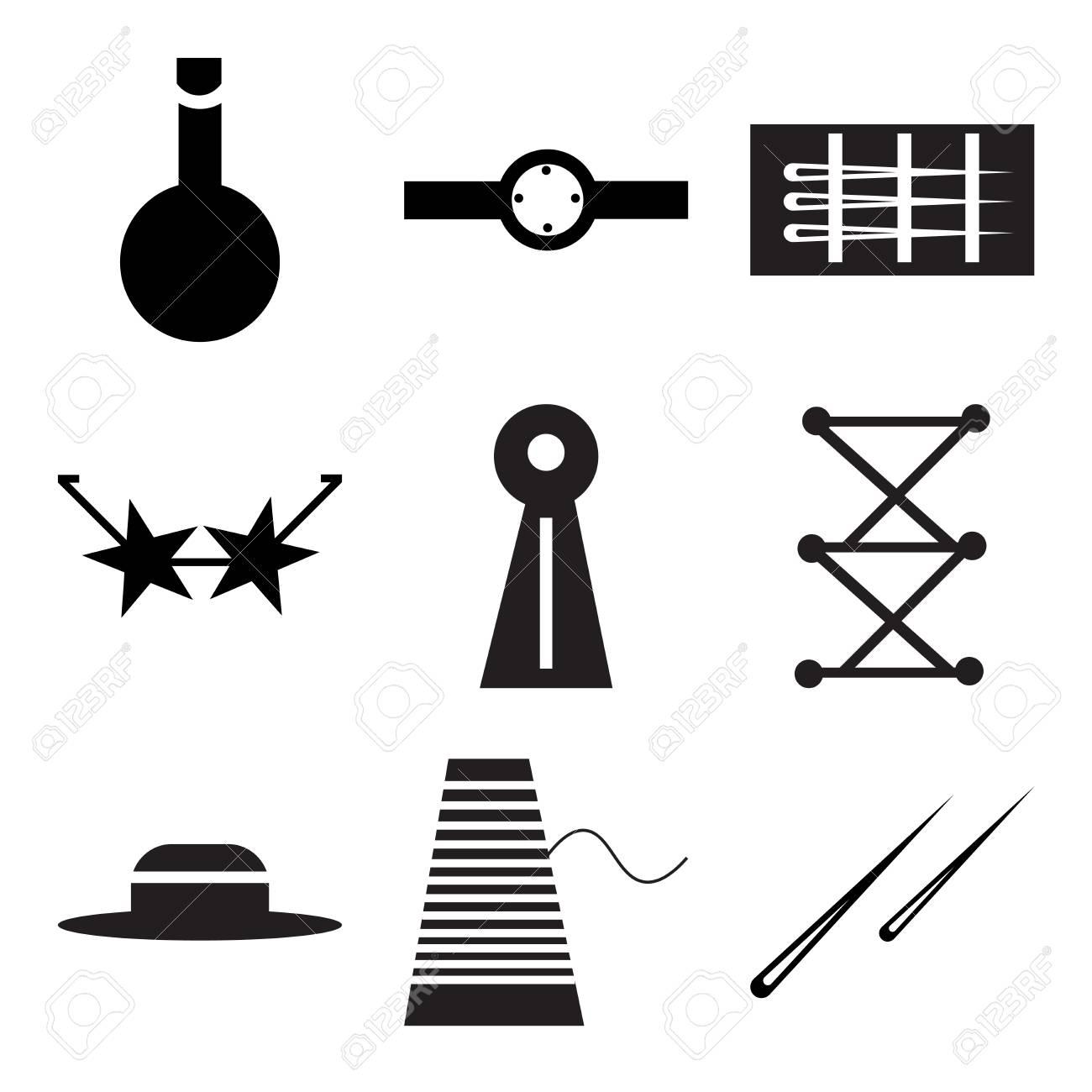 Set Of 9 Simple Editable Icons Such As Hair Sticks Couple, Thread ...