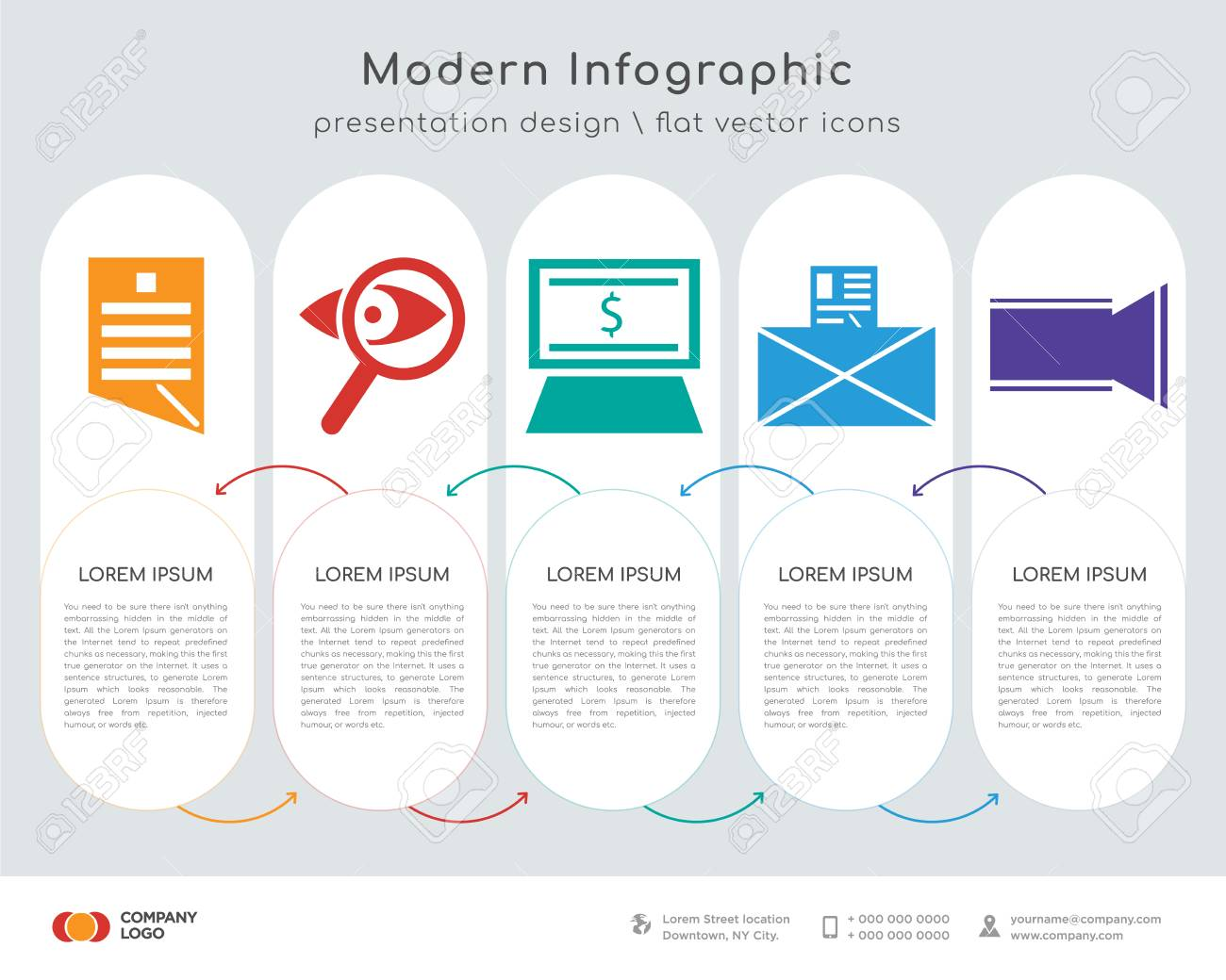 Infographics design vector and Contract, Search, Pay per click,