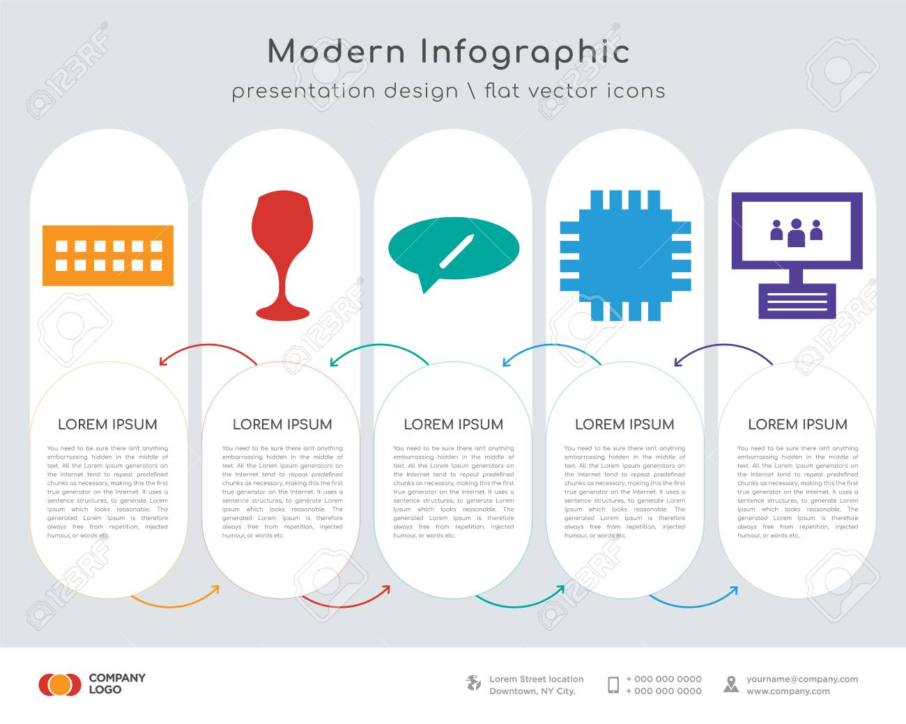 Infographics Design Vector And Keyboard Juice Chat Cpu Laptop