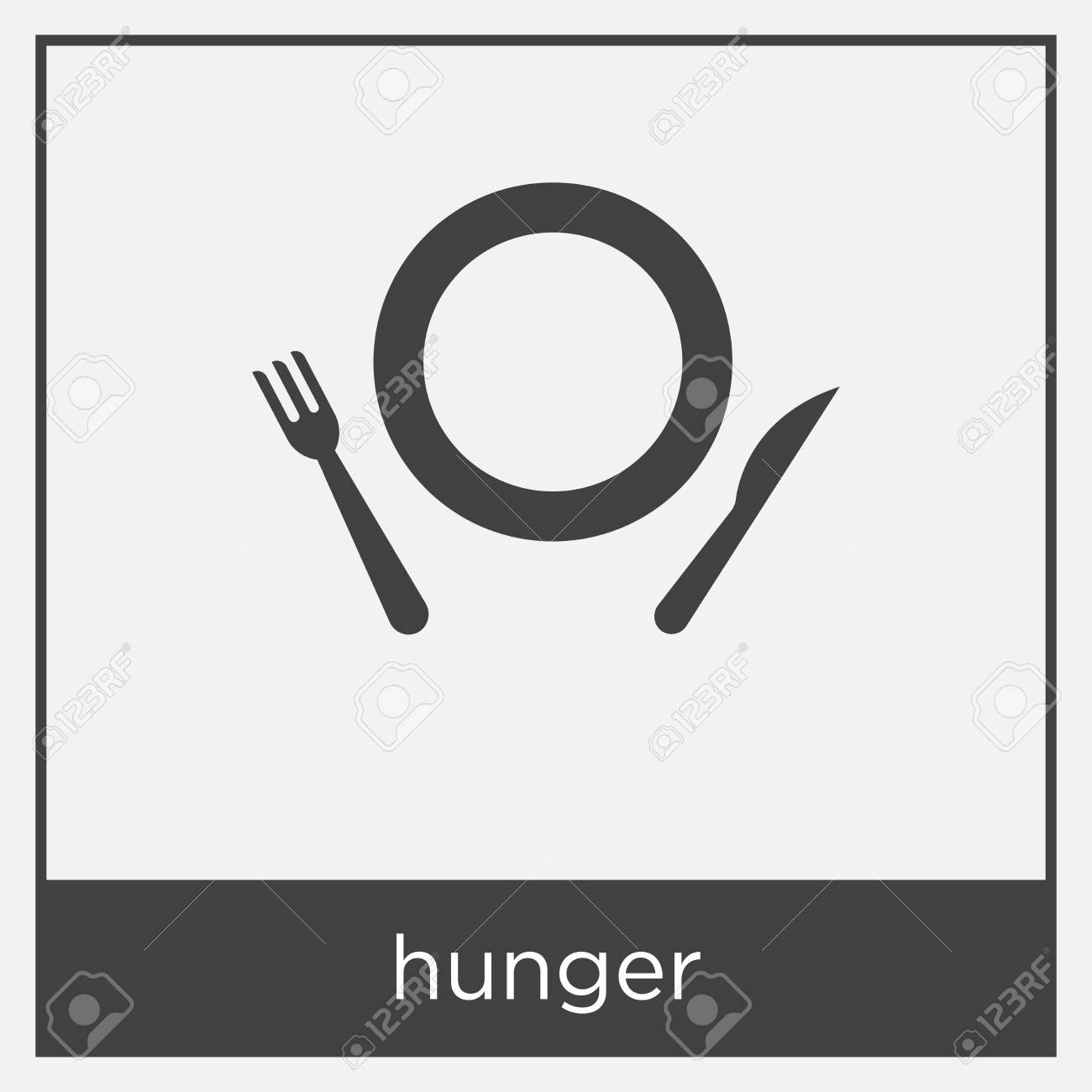 Hunger Icon Isolated On White Background With Black Border Royalty