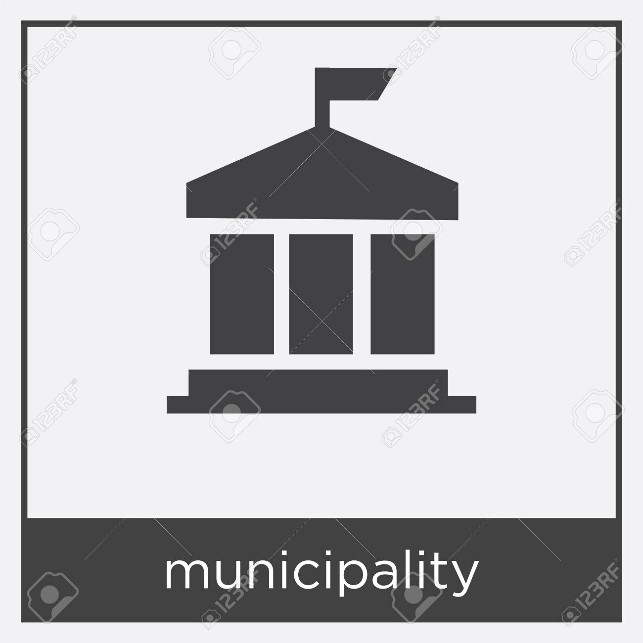 municipality icon isolated on white background with black border stock vector 100336104
