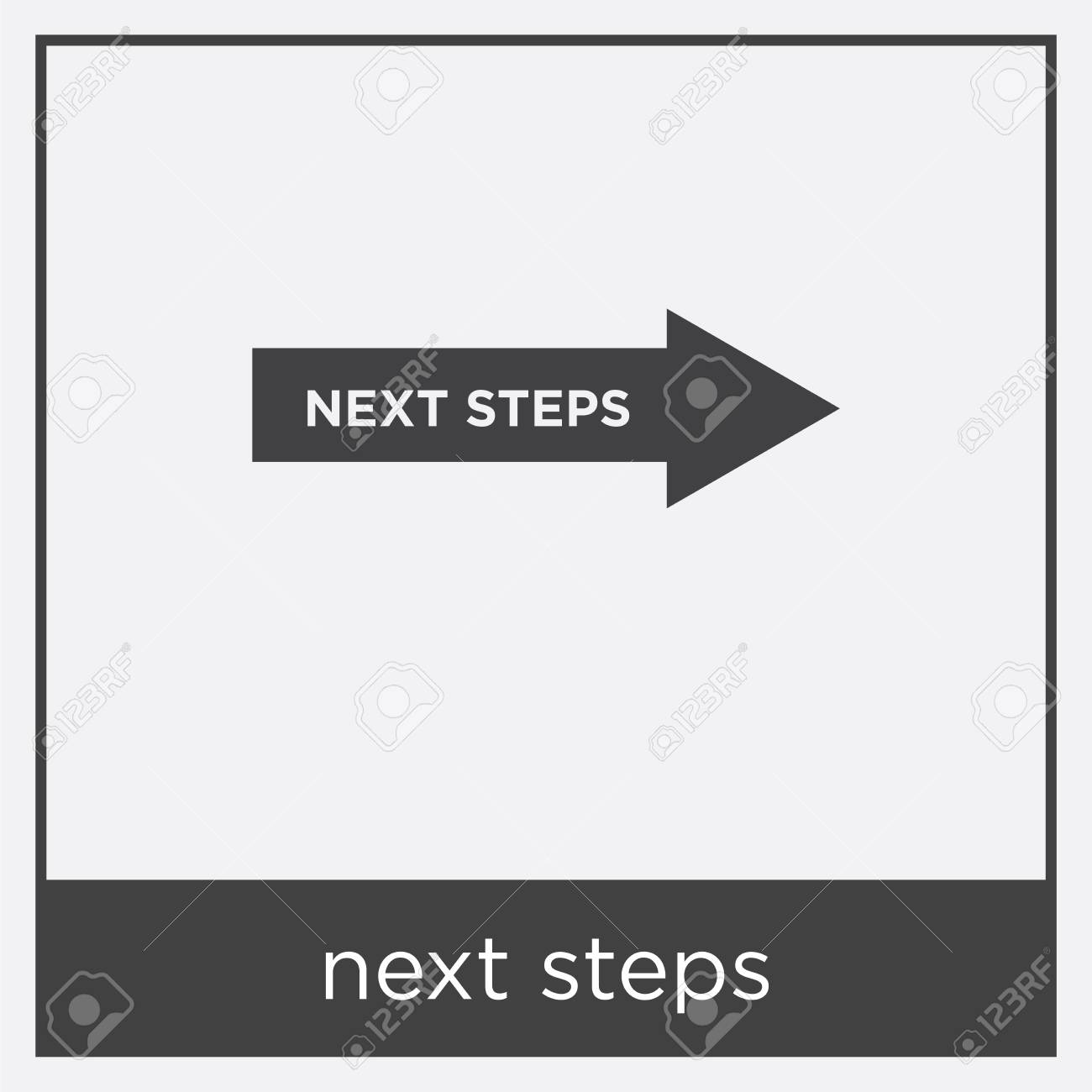 Next steps icon isolated on white background with black border Stock Vector - 100336108