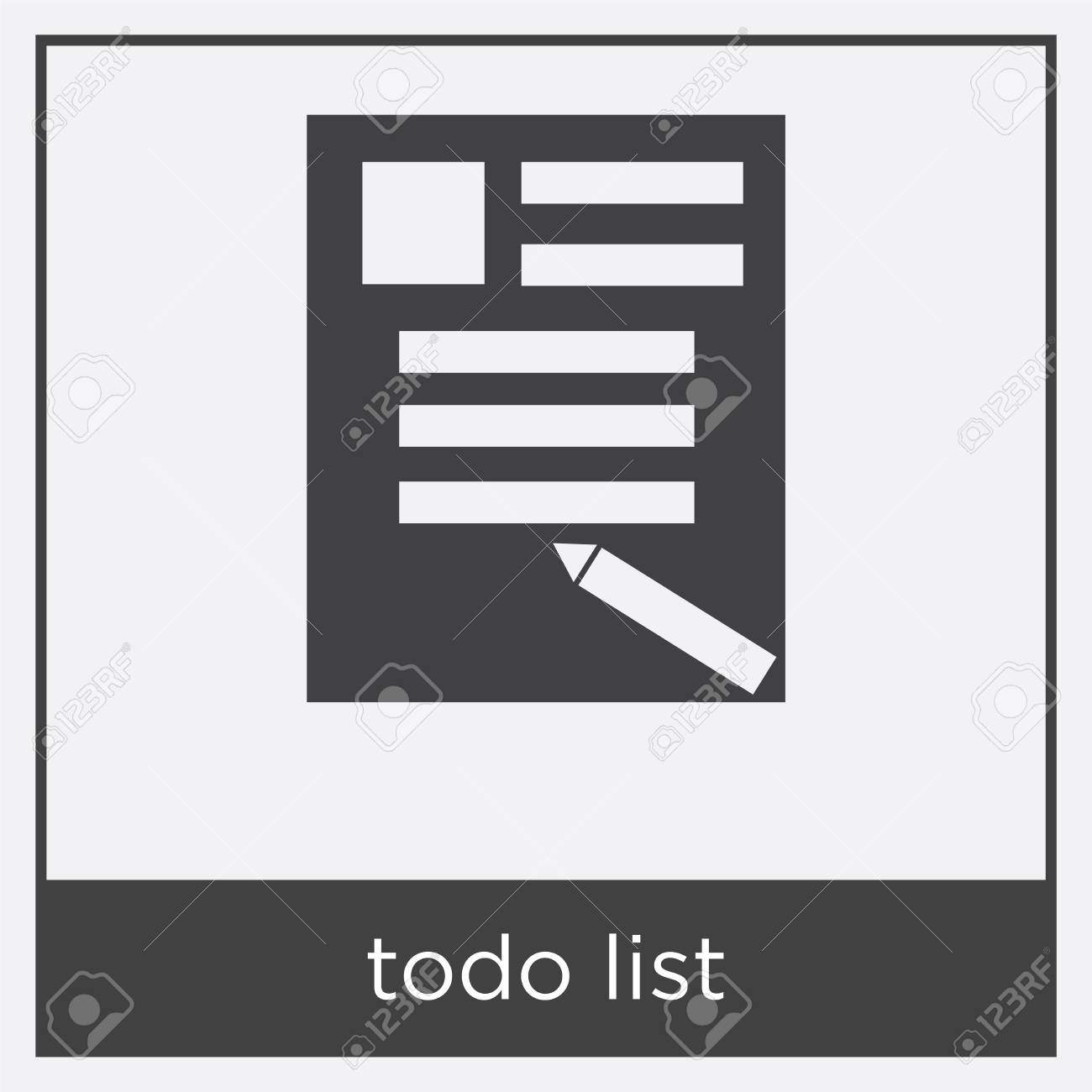 todo list icon isolated on white background with black border stock vector 100322480