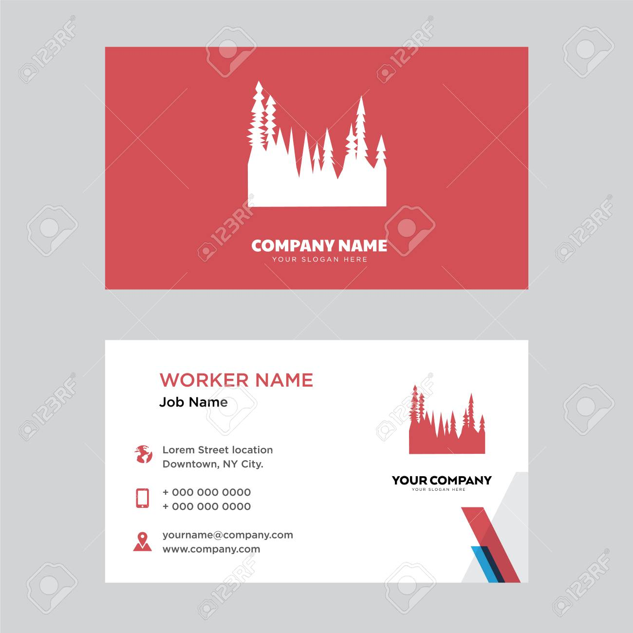 forest business card design template in front and back illustration