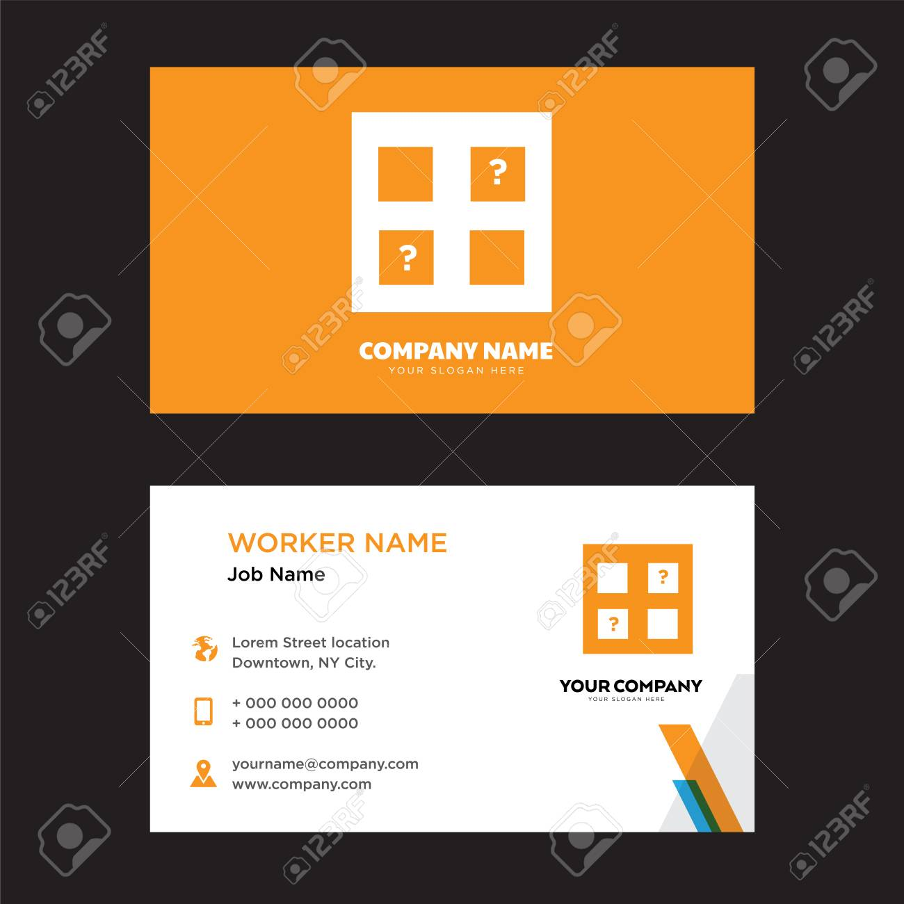 memory game business card design template in front and back