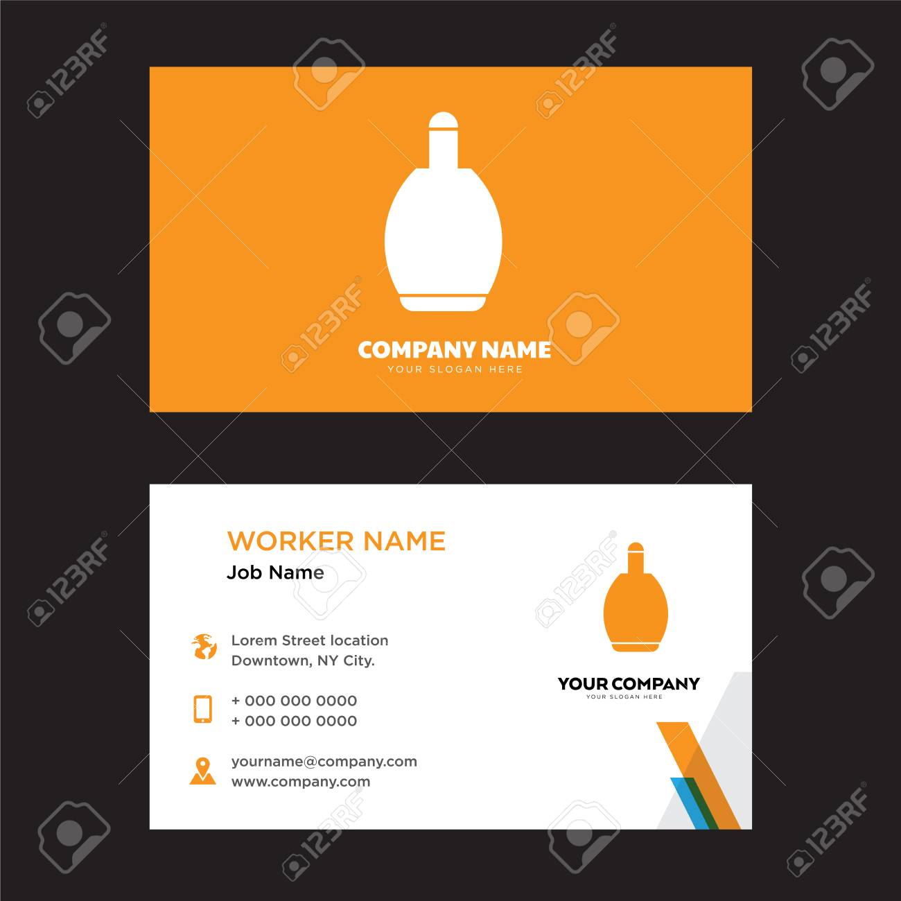 Circular Perfume Bottle Business Card Design Template Visiting - Template of business card