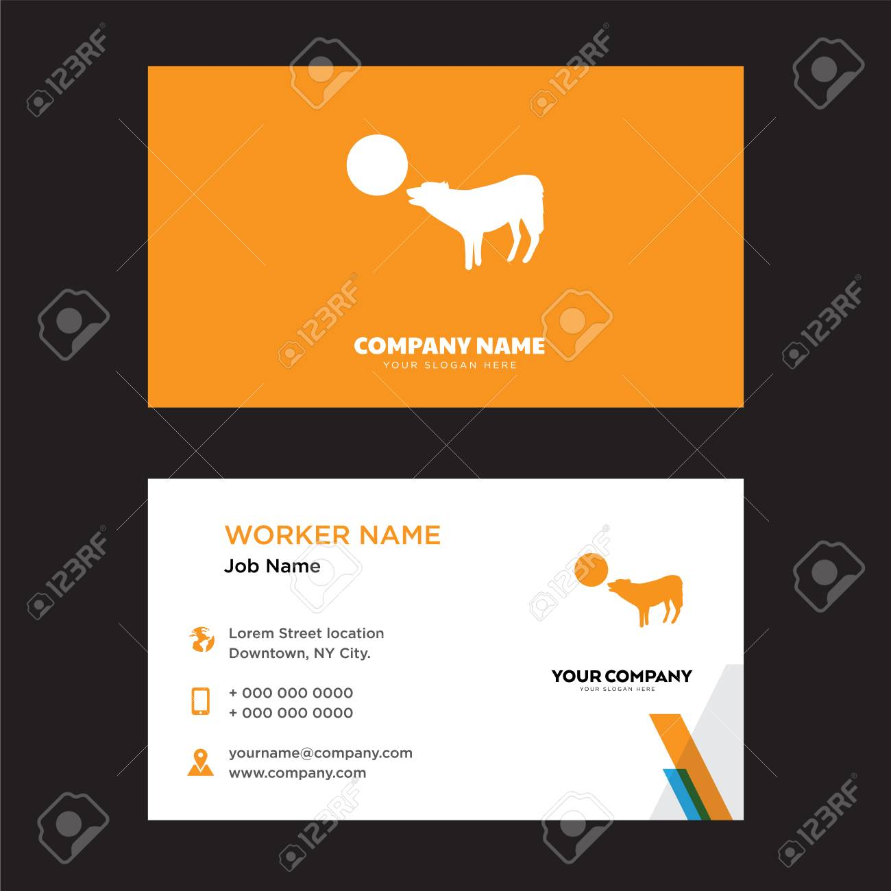 Wolf howling at the moon business card design template visiting vector wolf howling at the moon business card design template visiting for your company modern creative and clean identity card vector colourmoves