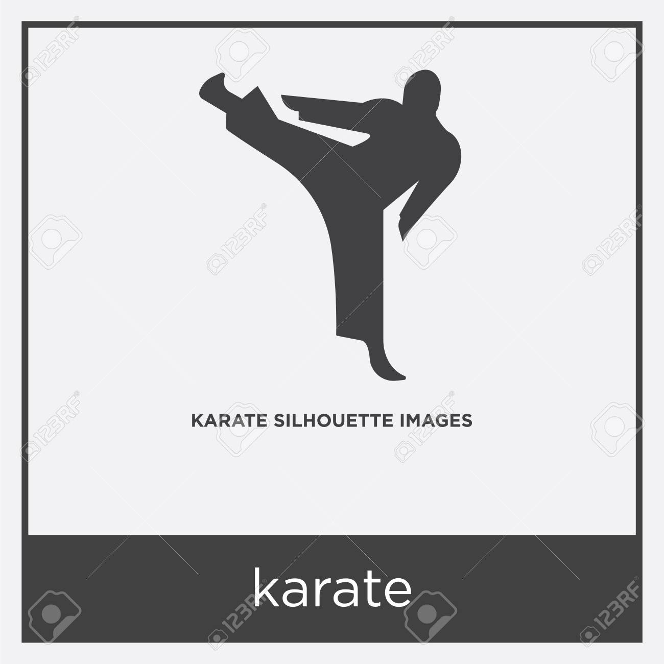 Karate Icon Isolated On White Background With Gray Frame Sign