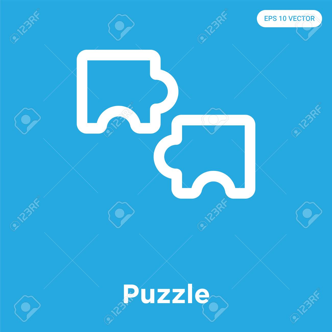 Puzzle vector icon isolated on blue background, sign and symbol - 100812758