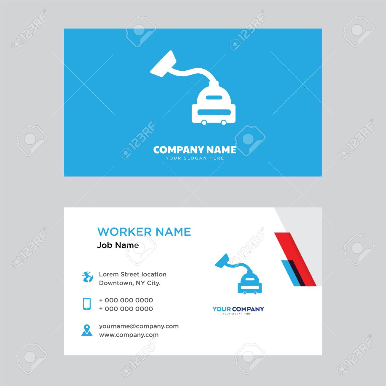Vacuum cleaner business card design template, Visiting for your company, Modern horizontal identity Card Vector - 100837939