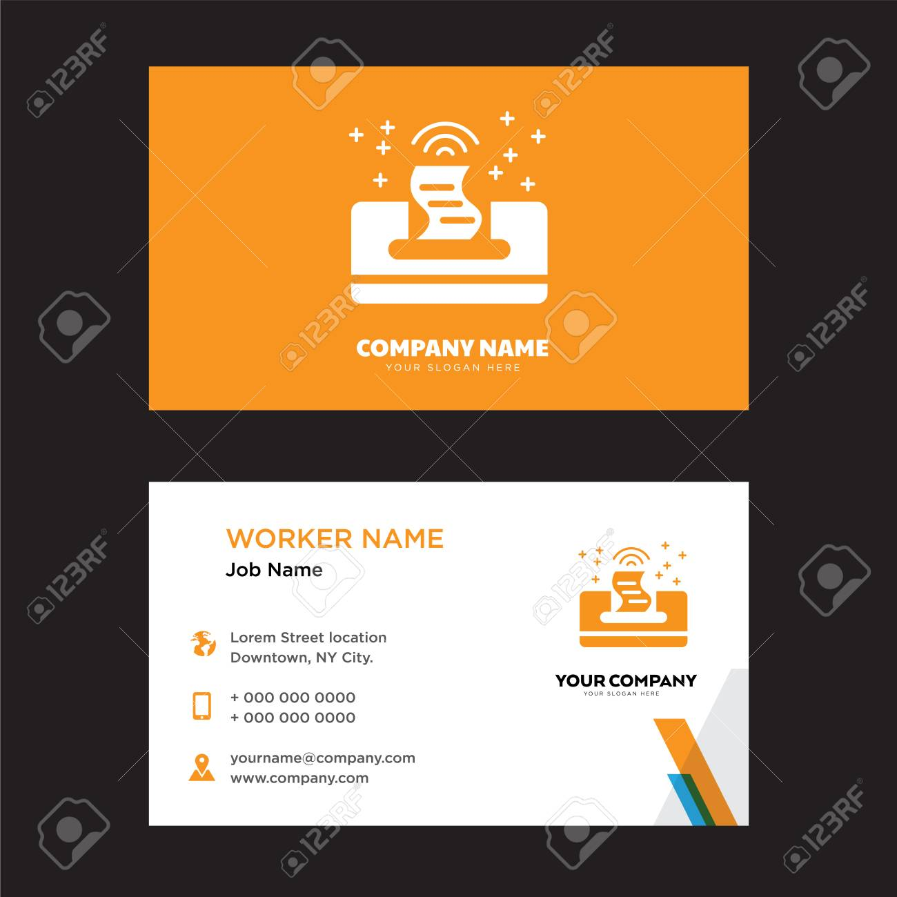 Printer business card design template visiting for your company printer business card design template visiting for your company modern horizontal identity card vector wajeb Choice Image