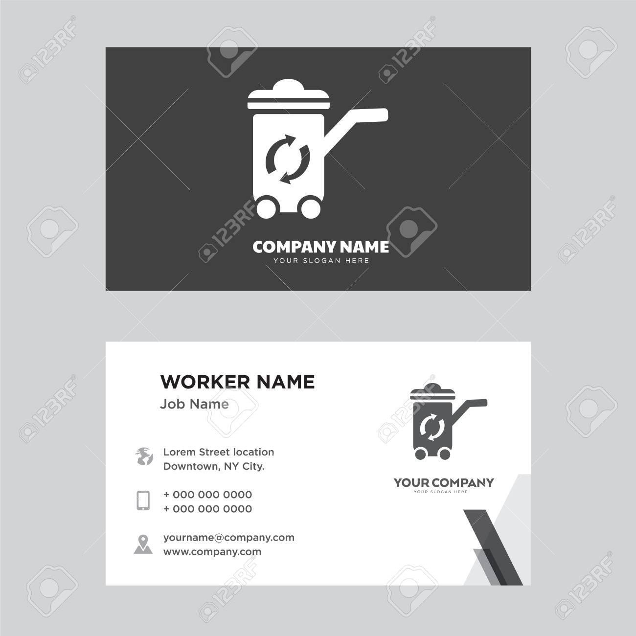 Recycle bin business card design template visiting for your recycle bin business card design template visiting for your company modern horizontal identity card colourmoves