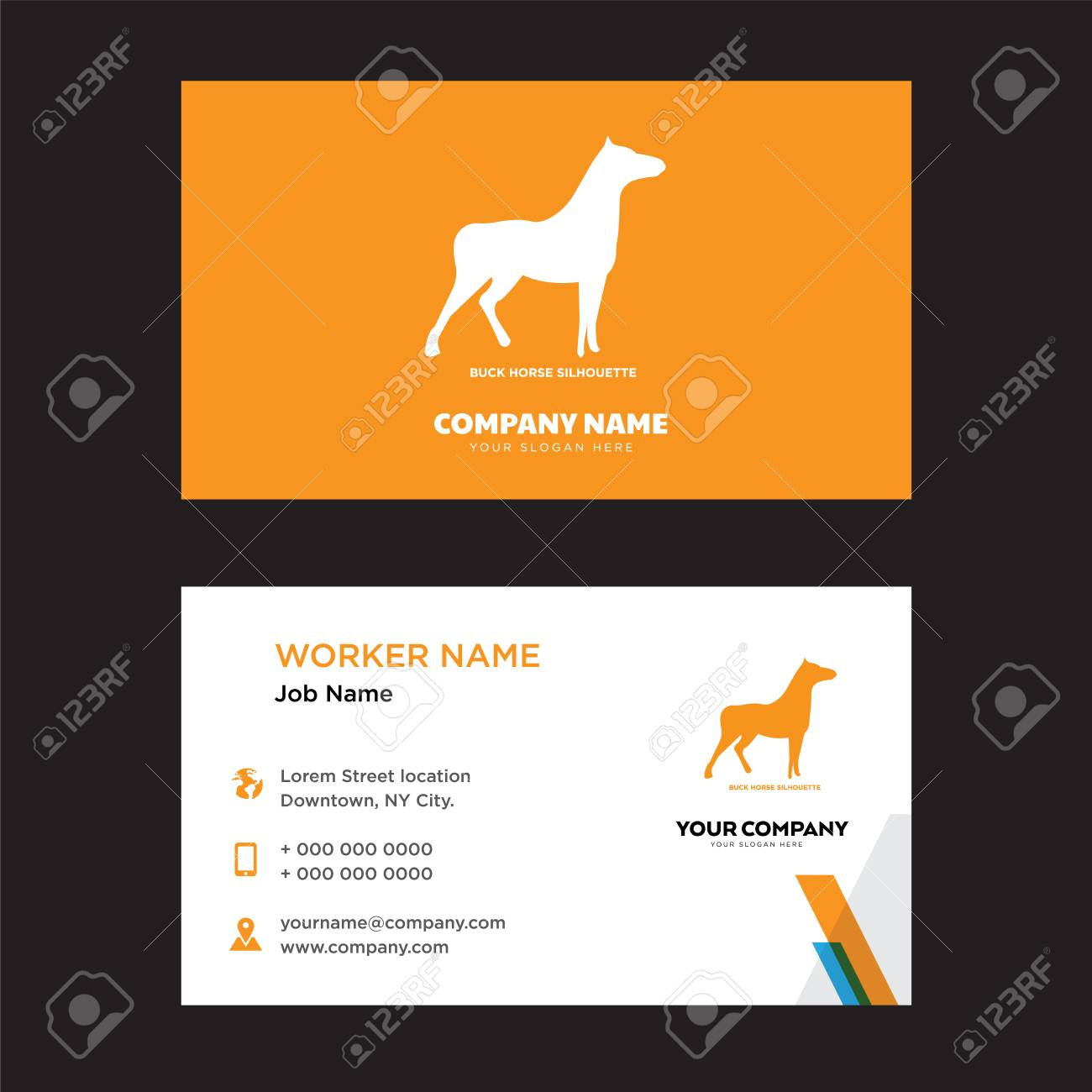 Buck horse business card design template visiting for your company buck horse business card design template visiting for your company modern horizontal identity card colourmoves