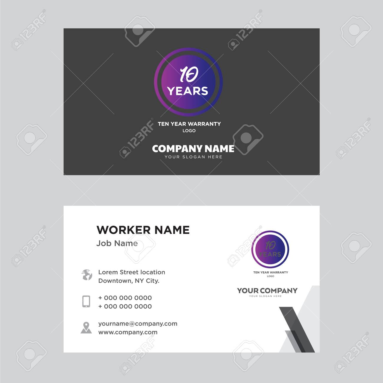 Ten Years Warranty Business Card Design Template Visiting For Royalty Free Cliparts Vectors And Stock Illustration Image 100957392