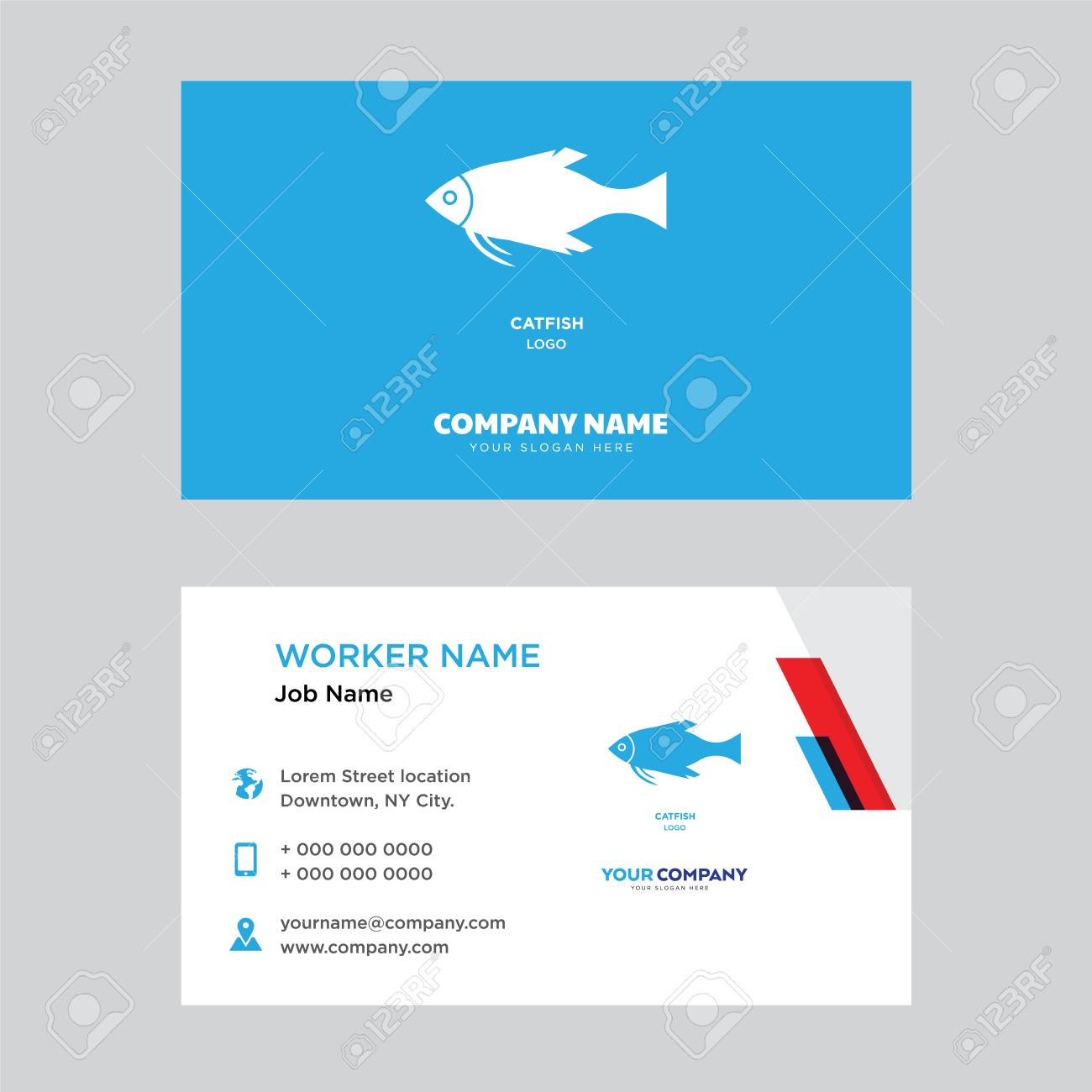 Catfish Business Card Design Template, Visiting For Your Company ...