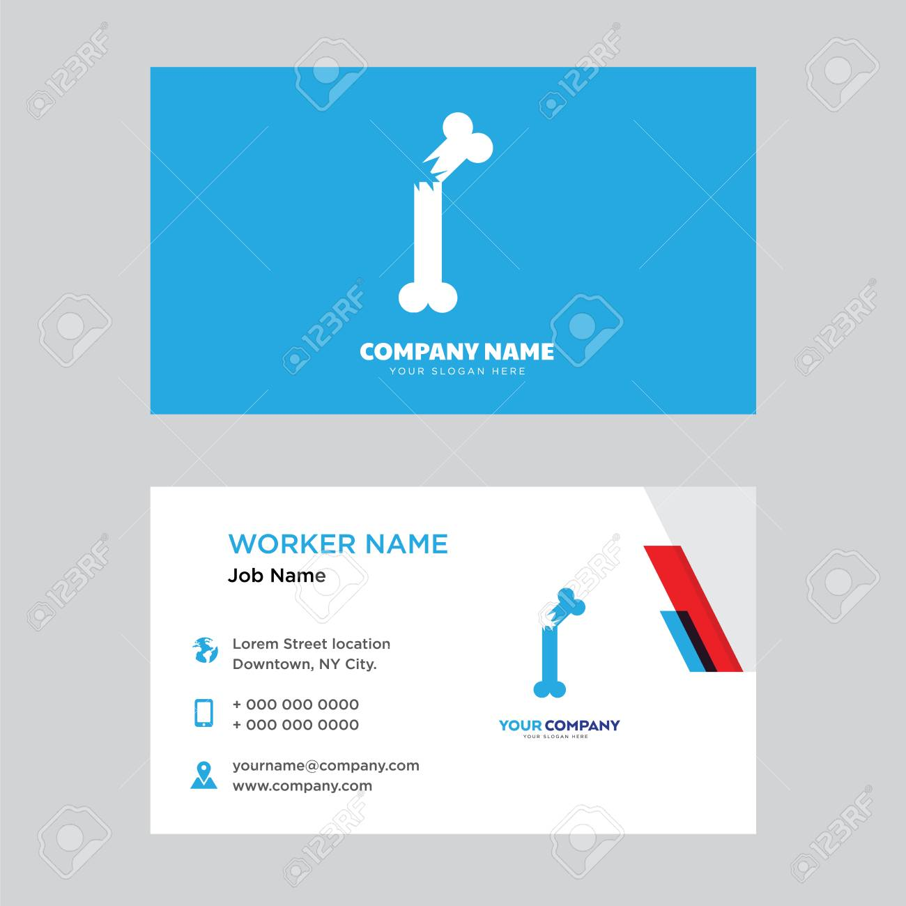 broken bone business card design template visiting for your company