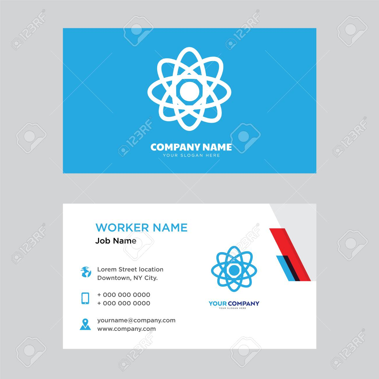 Atom business card design template visiting for your company atom business card design template visiting for your company modern horizontal identity card vector flashek Gallery