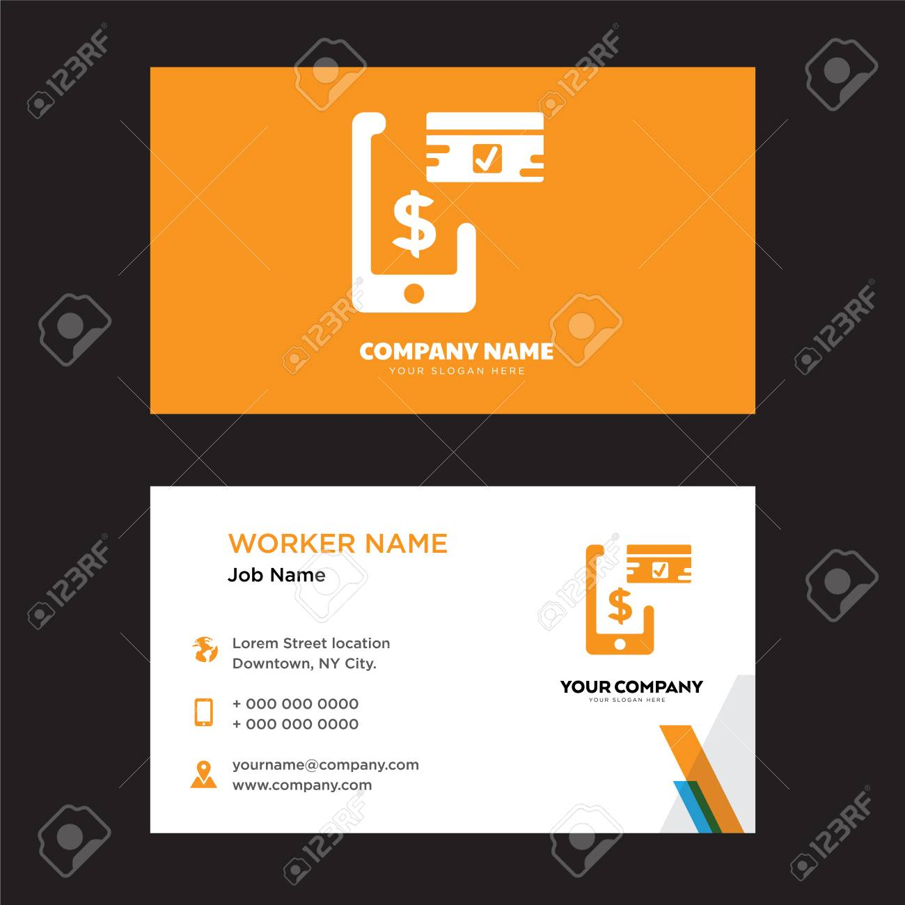 mobile payment business card design template visiting for your