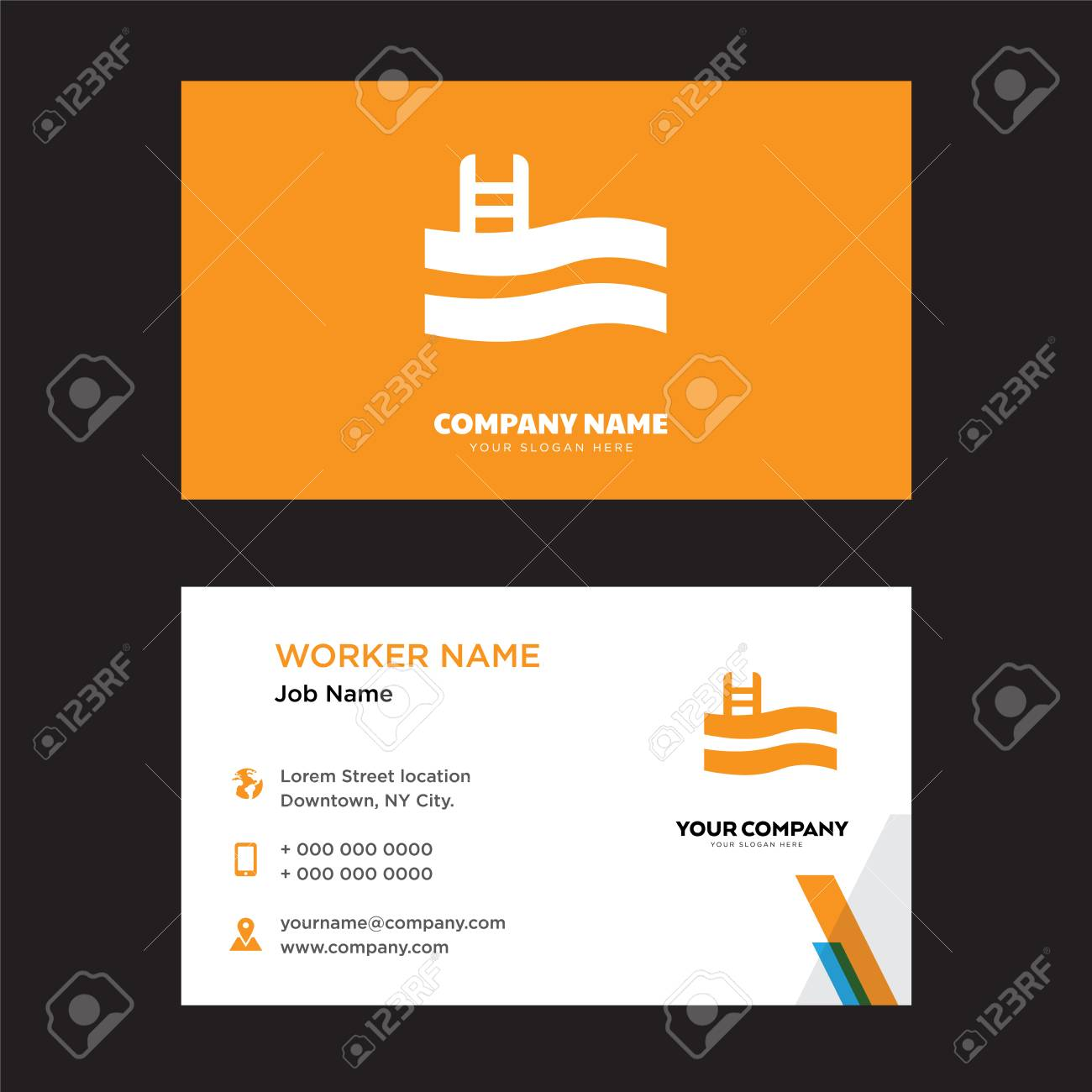 Swimming pool business card design template visiting for your swimming pool business card design template visiting for your company modern horizontal identity card colourmoves