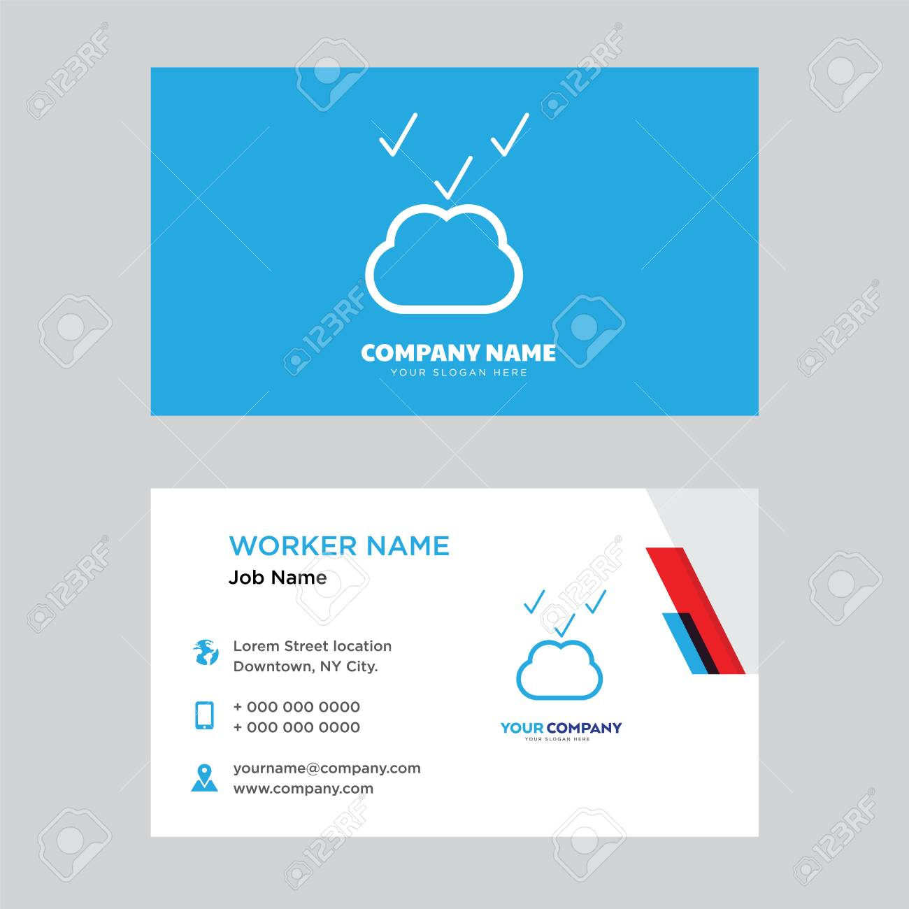 Cloud computing business card design template visiting for your cloud computing business card design template visiting for your company modern horizontal identity card colourmoves