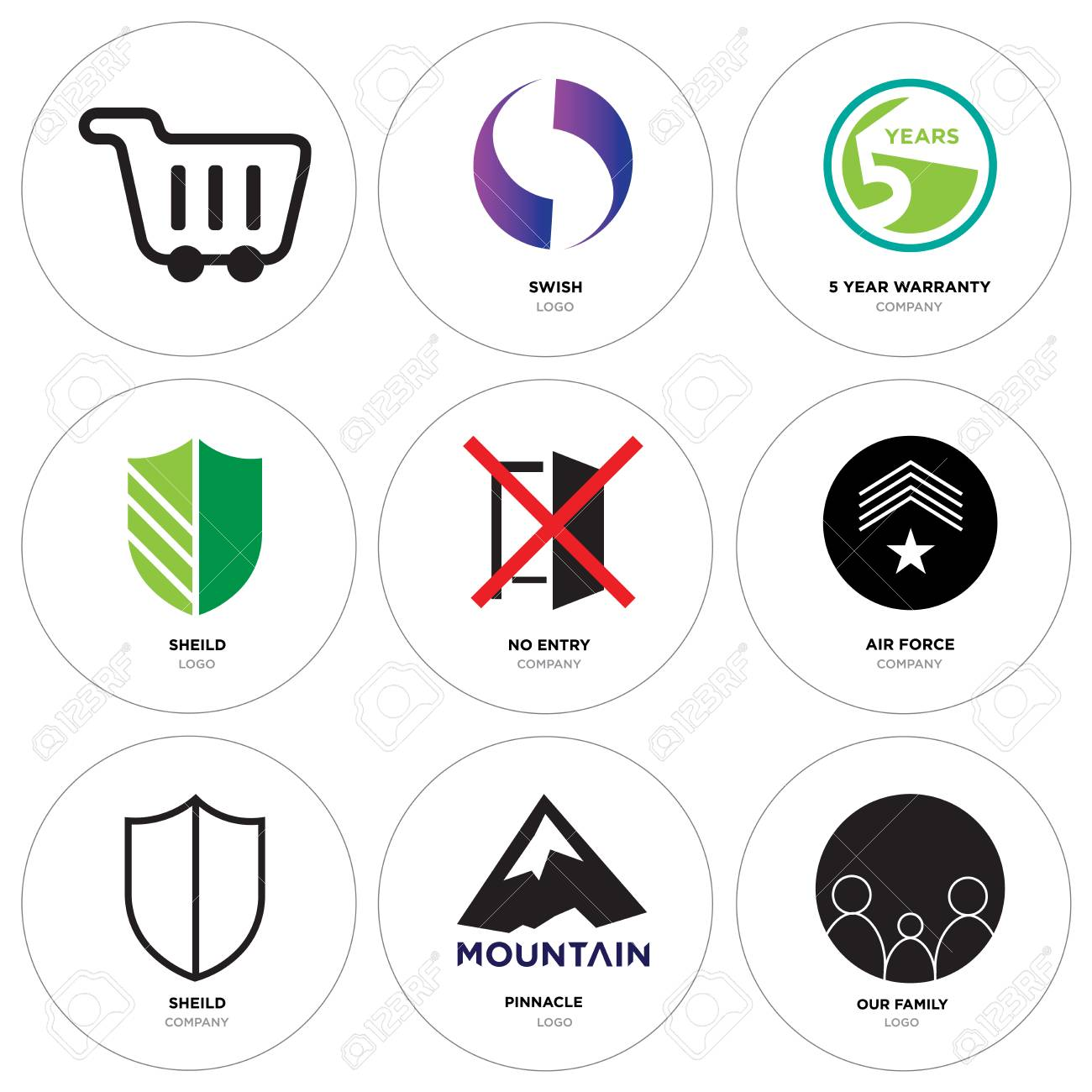 9cd47528 Set Of 9 simple editable icons such as our family, pinnacle, sheild, air