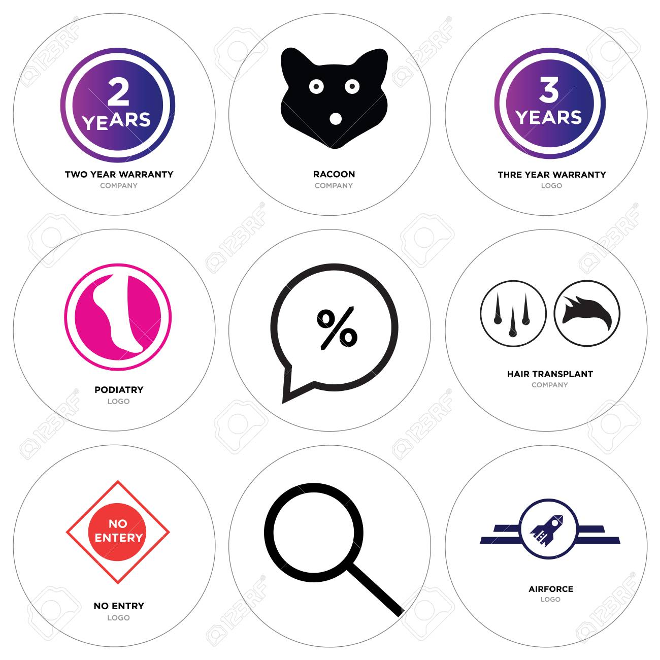 49201fb5 Set Of 9 simple editable icons such as Airforce, Search, no entry, hair