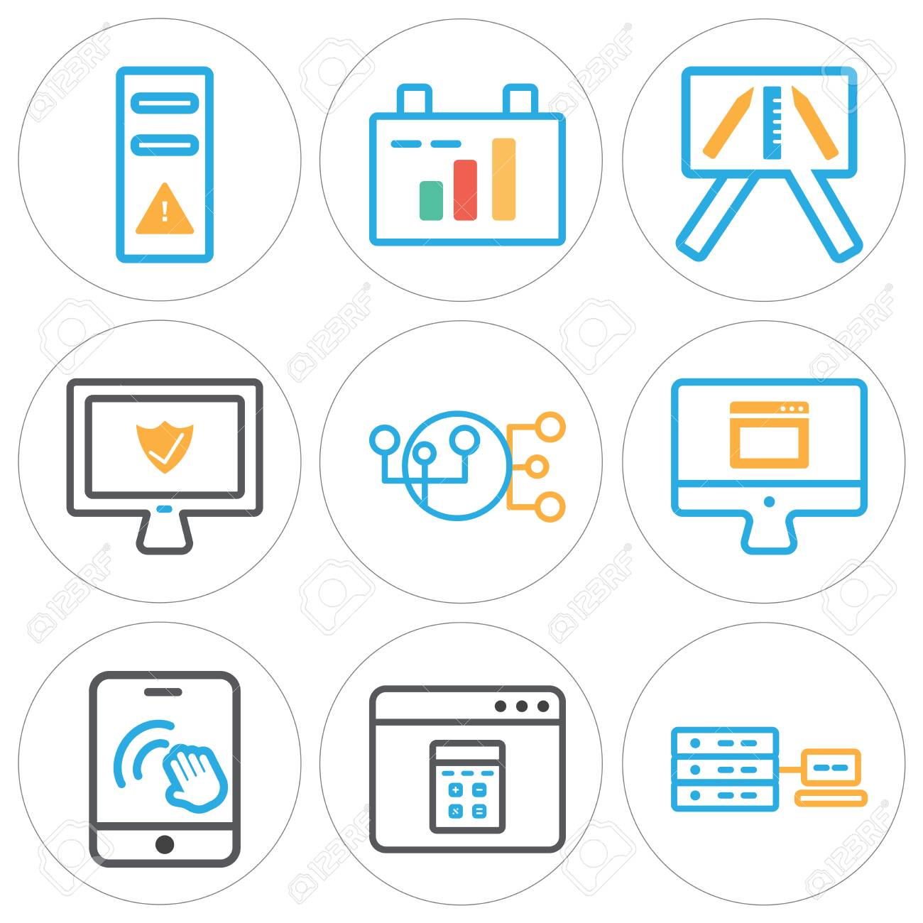 Set of 9 simple editable icons such as networking, browser, smartphone,
