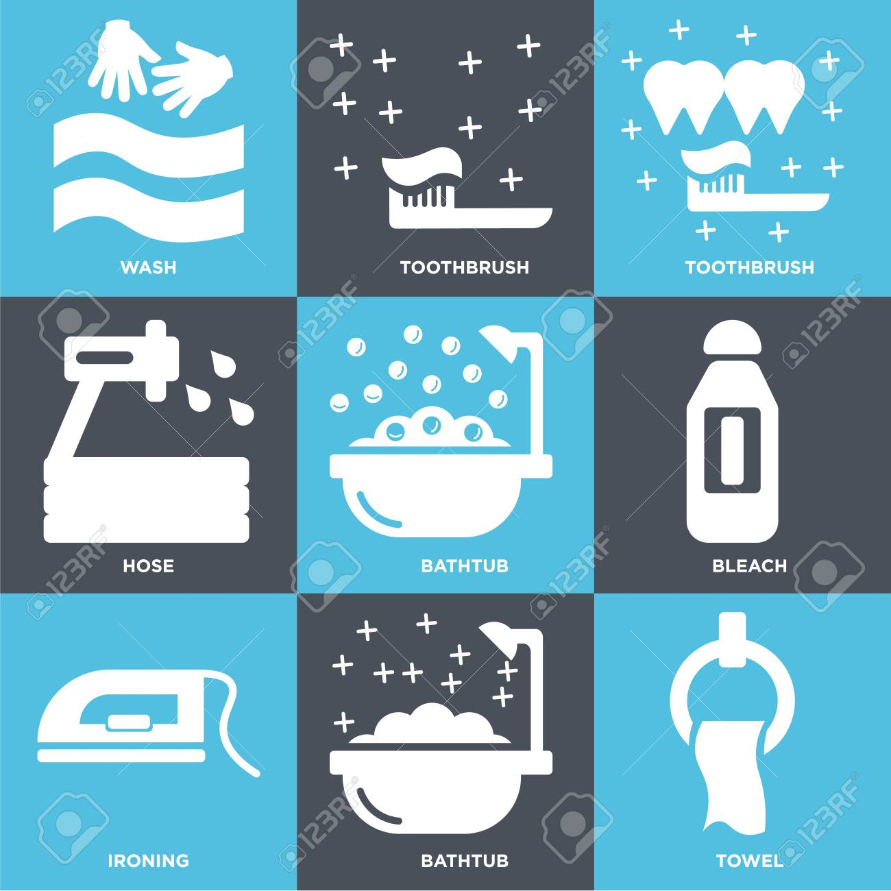 Set Of 9 Simple Editable Icons Such As Towel, Bathtub, Ironing ...