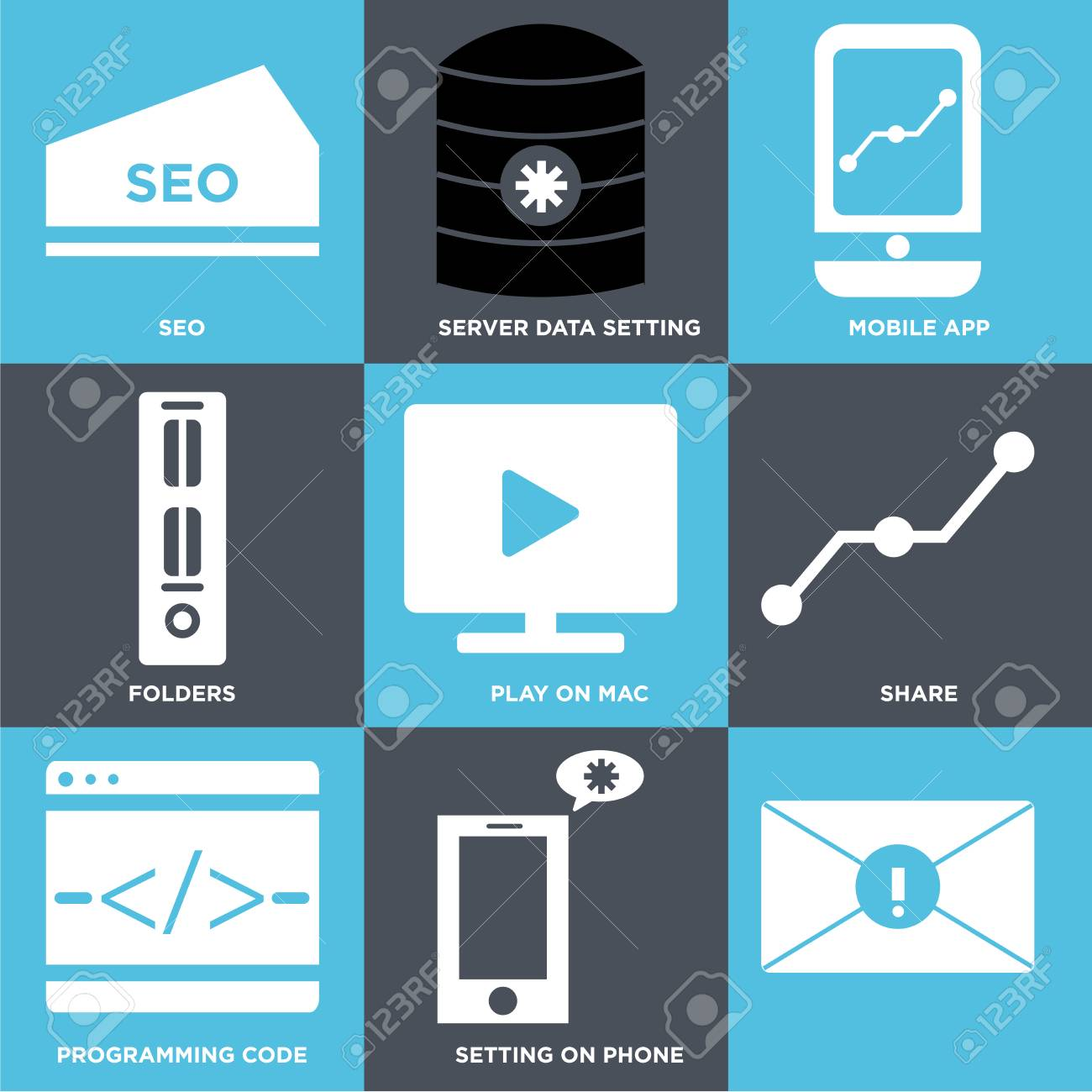 Set Of 9 simple editable icons such as Setting on phone, Programming