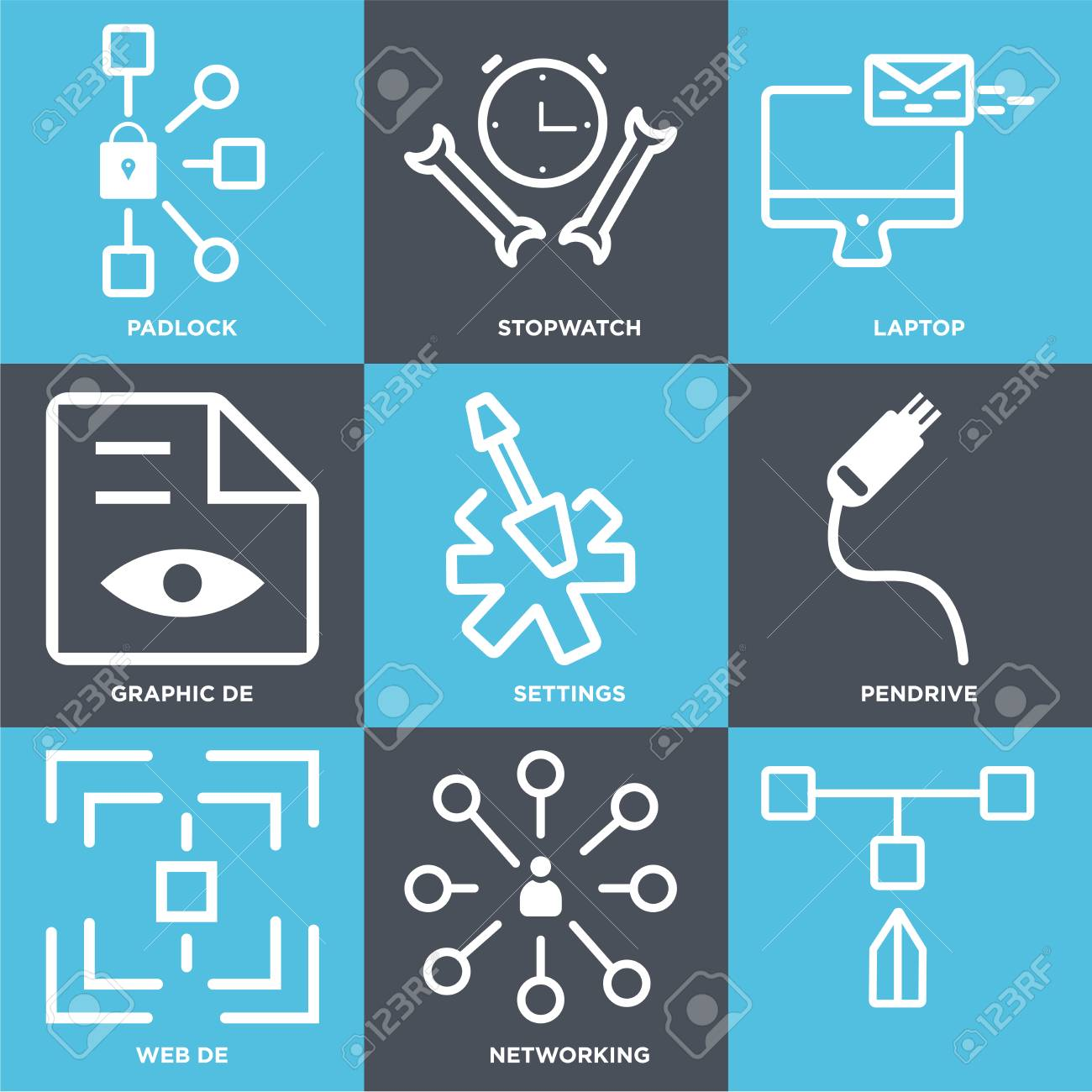 Set Of 9 simple editable icons such as Networking, Web de, Pendrive,