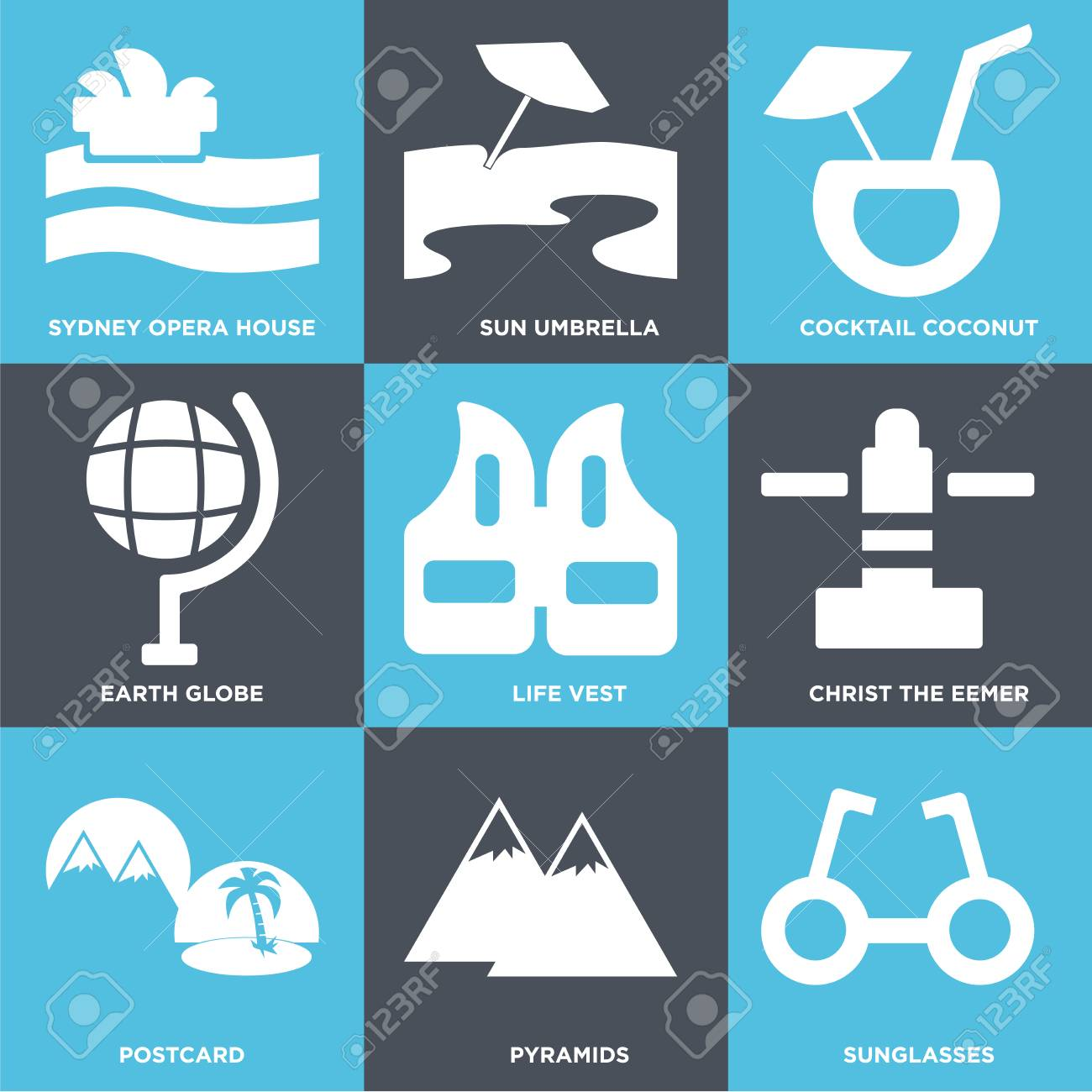 5636a0394beed Set Of 9 simple editable icons such as Sunglasses, Pyramids, Postcard,  Christ the