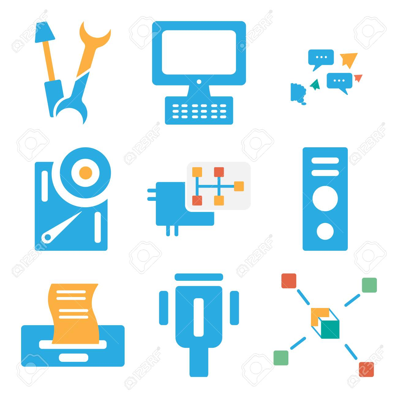 Set Of simple editable icons such as Networking, Cable, Printer,