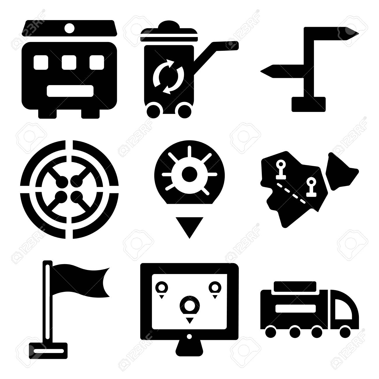 Set Of 9 simple editable icons such as Road sweeper, Map, Flag,.. Map Of Sweeer on