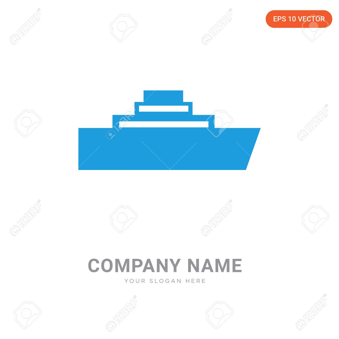 Pirate Ship Company Logo Design Template Logotype
