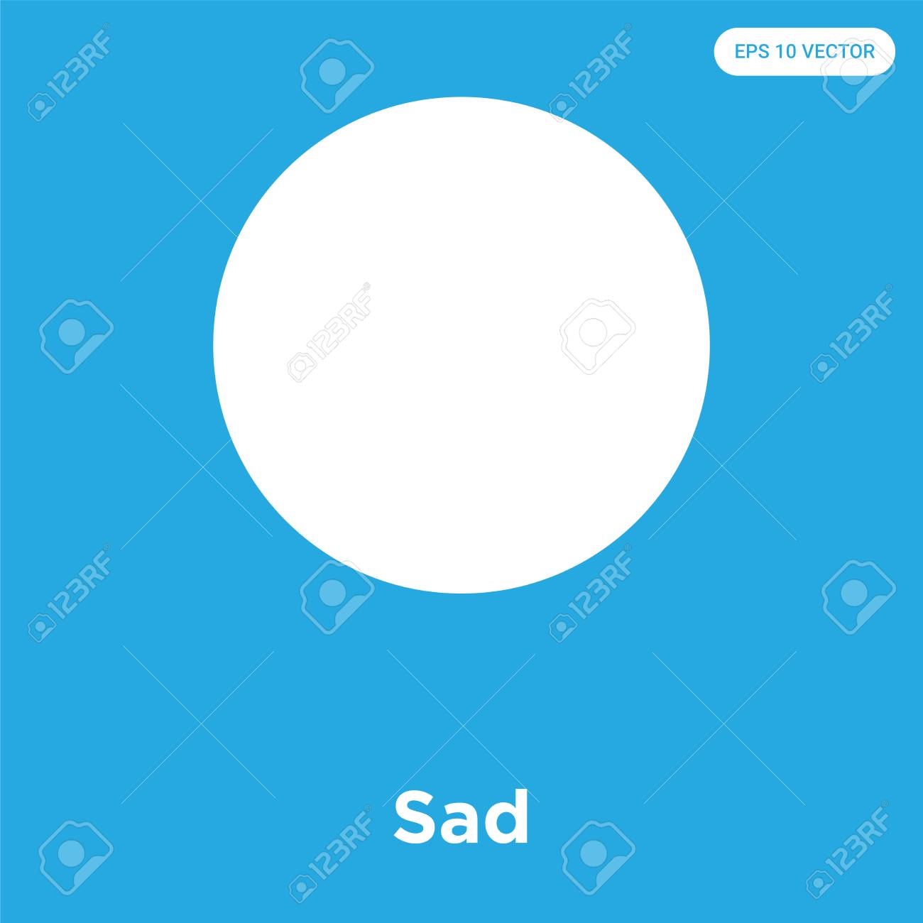 Sad vector icon isolated on blue background, sign and symbol, Sad icons collection - 114806099